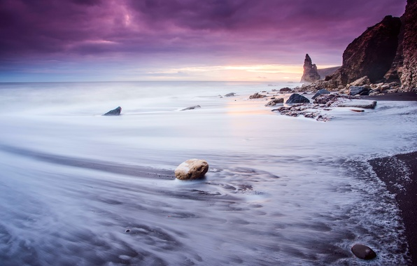 Picture sea, wave, beach, the sky, clouds, light, stones, rocks, excerpt