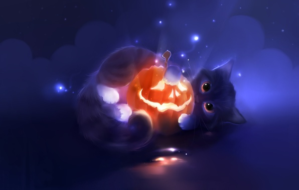 Picture look, kitty, figure, artist, Halloween, pumpkin, Halloween, apofiss, pumpkin, Jack