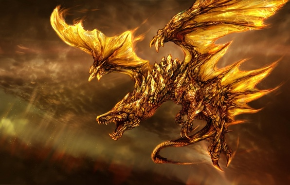 Picture fiction, fire, dragon, wings, art