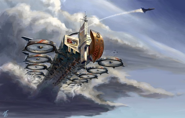 Picture clouds, transport, ship, art, aircraft, in the sky, edarneor