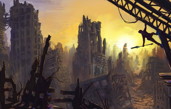 Picture the wreckage, the sun, the city, people, art, ruins, Jon Baker