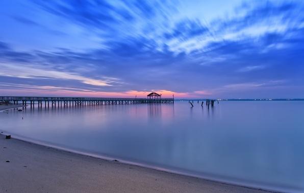 Picture sand, beach, the sky, clouds, sunset, shore, the evening, pierce, VA, Bay, calm, USA, Virginia