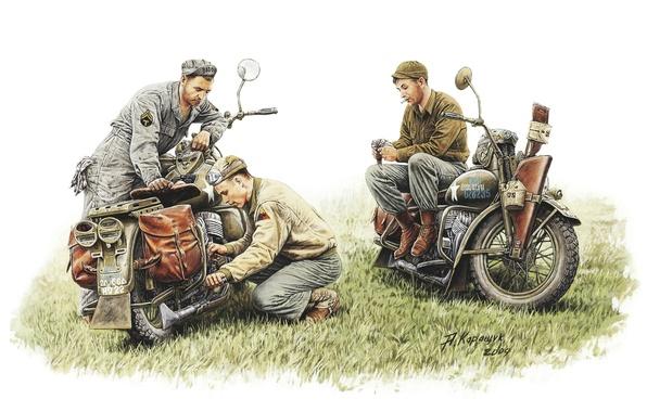 Picture model, art, motorcycle, soldiers, USA, repair, break, Harley-Davidson, mechanics, repair, team, WW2, military, 1942., equipped, ...