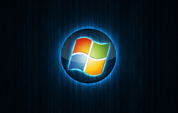 Picture computer, rays, light, logo, emblem, windows, the volume, operating system