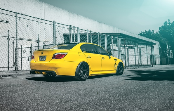 Picture yellow, tuning, bmw, BMW, drives, yellow, e60