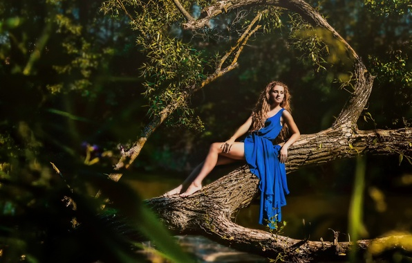 Picture summer, girl, the sun, tree, dress, blue