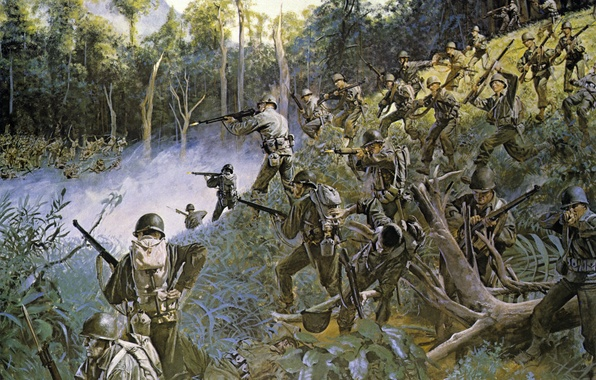 Picture Islands, battle, soldiers, equipment, Japanese, rifle, machines, WW2, American, Luzon, Philippine