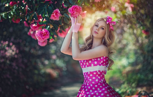 Picture flowers, style, model, polka dot, dress, Camellia