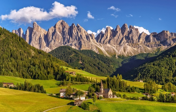 Picture mountains, valley, village, Italy, panorama, Italy, The Dolomites, South Tyrol, South Tyrol, Dolomite Alps