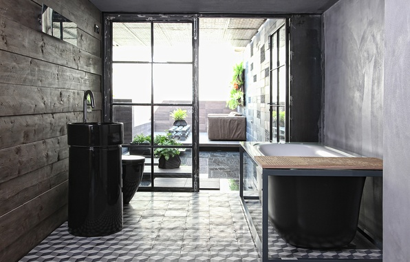 Picture flowers, sofa, interior, sink, bath, bathroom