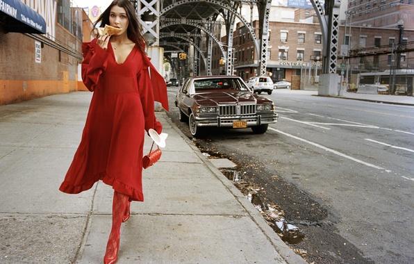 Picture road, machine, model, dress, brunette, photographer, handbag, the sidewalk, in red, is, It, Dan Martensen, …