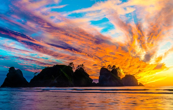 Picture Nature, Clouds, Colorful, Sea, Island, Sundawn