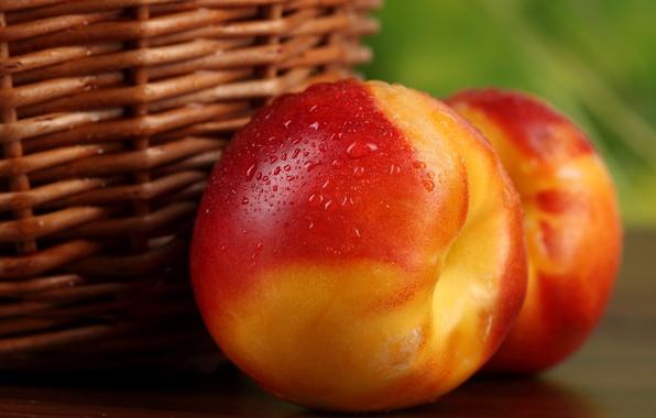 Picture basket, fruit, peaches, nectarine, peaches