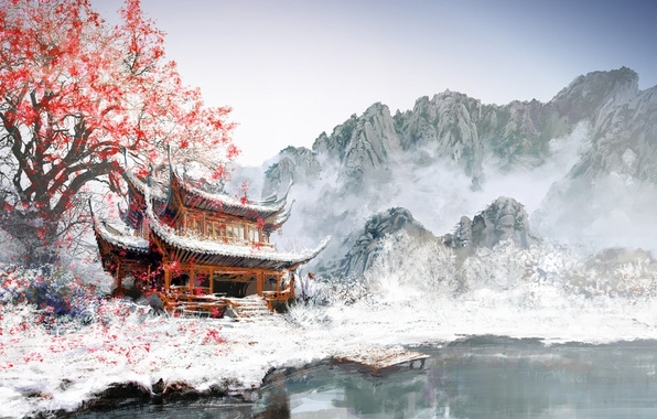 Picture leaves, snow, mountains, fog, lake, tree, Asia, figure, the building, Marina