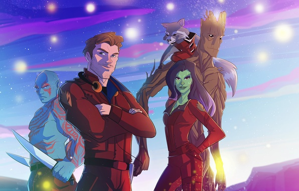 Picture art, Rocket, Peter Quill, Star-Lord, Gamora, Groot, Drax, guardians of the galaxy