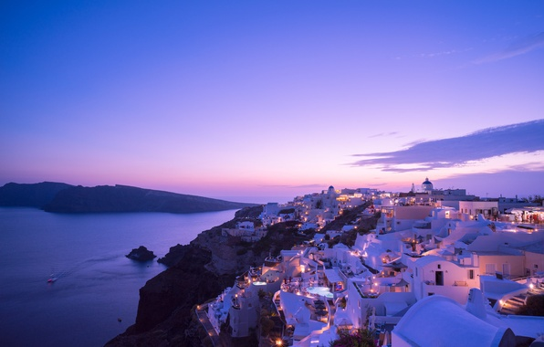 Picture sea, sunset, lights, home, the evening, Santorini, Greece, the island of Thira