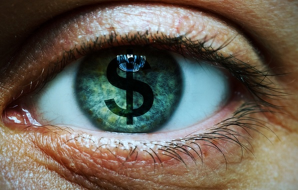 Picture eye, eyelashes, symbol money