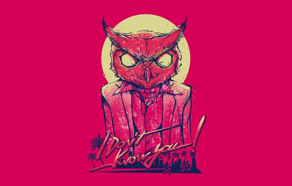 Picture minimalism, mask, owl, Hotline Miami, Rasmus