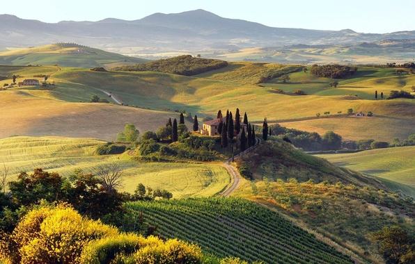 Picture road, autumn, trees, mountains, nature, hills, home, Landscape