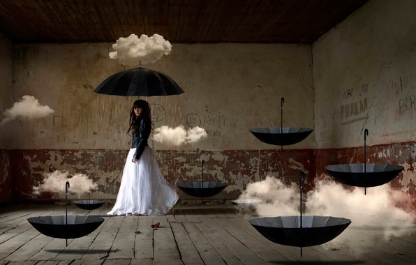 Picture girl, clouds, fantasy, room, art, umbrellas