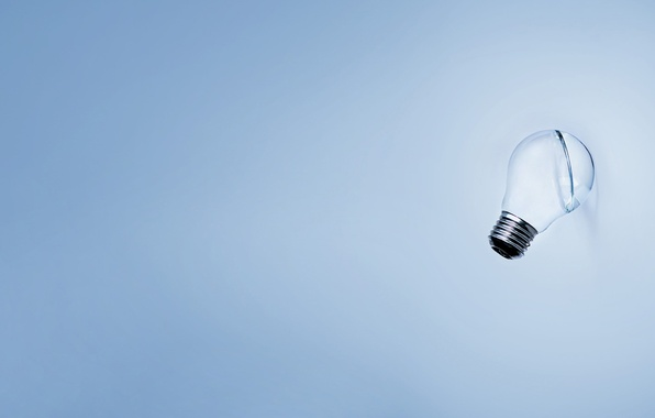 Picture light bulb, blue, minimalism
