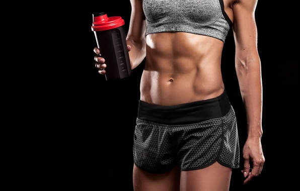 Photo wallpaper women, abs, fitness, physical activity, sportswear, protein drinks, hydration