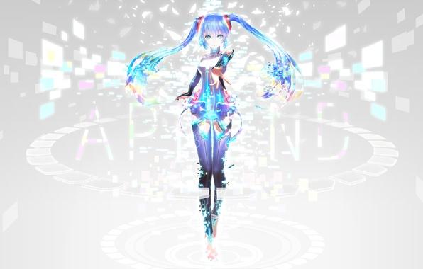 Picture look, girl, smile, background, vocaloid, hatsune miku, gesture, Vocaloid, art, iori