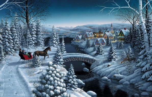 Picture winter, stars, snow, bridge, river, horse, tree, home, spruce, the evening, village, Christmas, New year, …