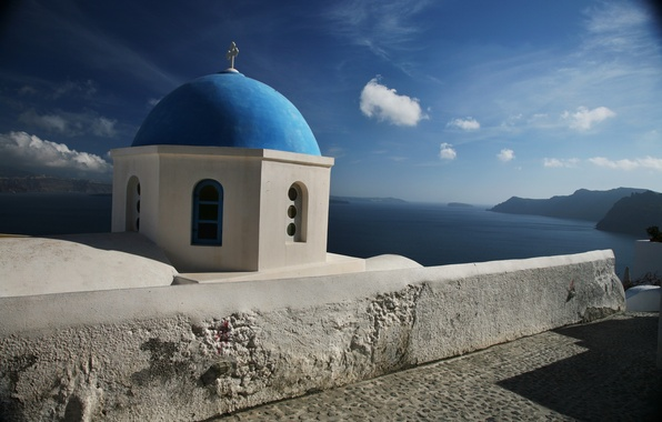 Picture sea, the sky, clouds, mountains, Santorini, Church, the dome, Greece, santorini, greece