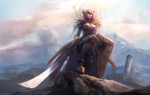 Picture girl, light, mountains, sword, armor, shield, League of Legends, Leona, LoL