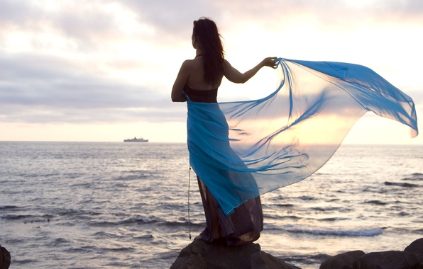 Picture sea, wave, the sky, freedom, water, girl, nature, stones, background, Wallpaper, mood, brunette, widescreen, full …