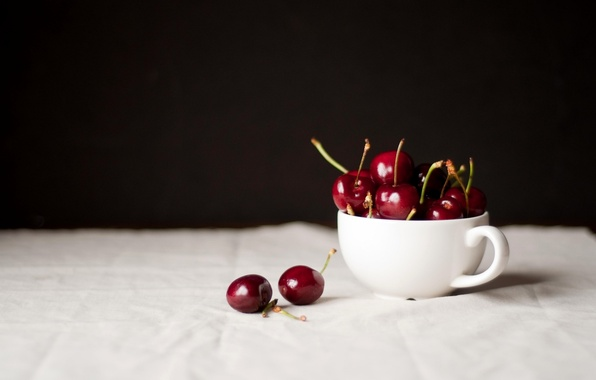 Picture cherry, berries, table, Cup, white, cherry