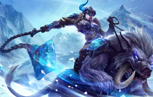 Picture crystal, girl, snow, mountains, weapons, monster, art, horn, League of Legends, Sejuani, Michal Ivan