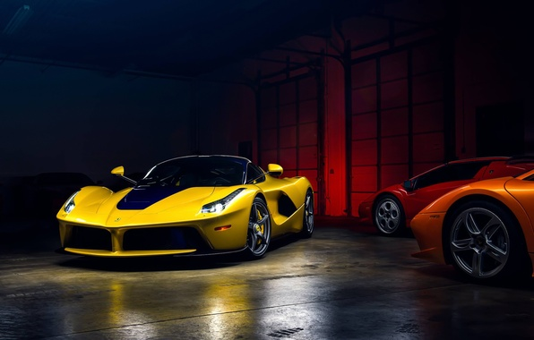Picture Light, Ferrari, Cool, Front, Color, Yellow, Supercar, Garage, LaFerrari