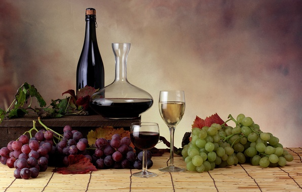Picture leaves, wine, glasses, grapes, bottle