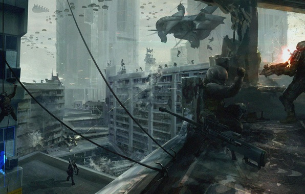 Picture the city, war, concept, helicopter, soldiers, World War V