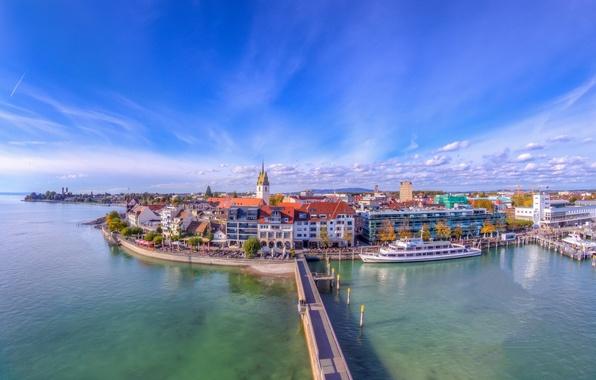 Picture bridge, lake, building, Germany, promenade, Germany, ship, Lake Constance, Baden-Württemberg, Baden-Wurttemberg, Friedrichshafen, Friedrichshafen, Lake Constance