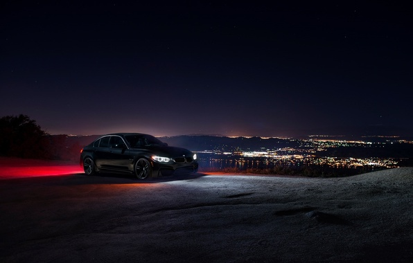 Picture BMW, City, Car, Sky, Front, Black, Ligth, Nigth, F80