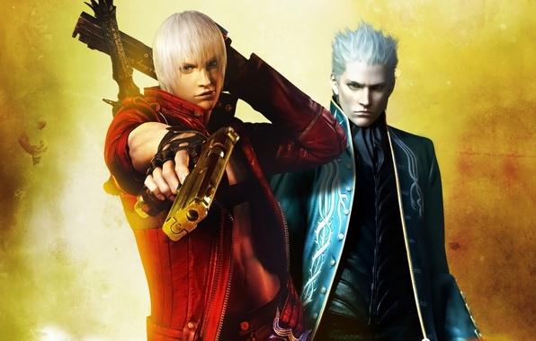 Picture guns, sword, guns, sword, brothers, demons, Dante, DMC, Dante, game wallpapers, brothers, Rebellion, Ebony & …