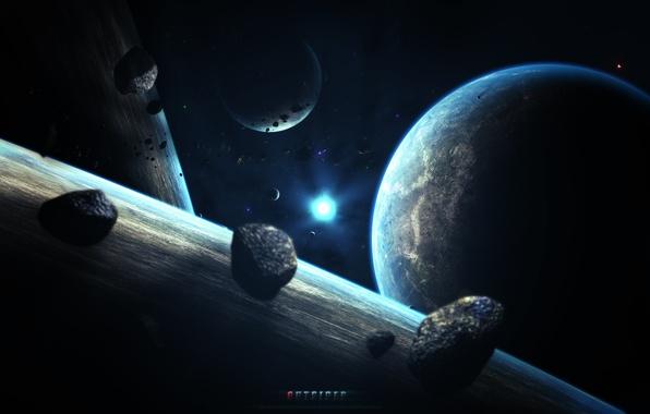 Picture space, stars, earth, planet, art, abikk