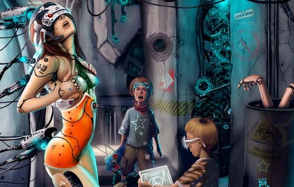Picture girl, fiction, robot, surprise, art, cyborg, boys