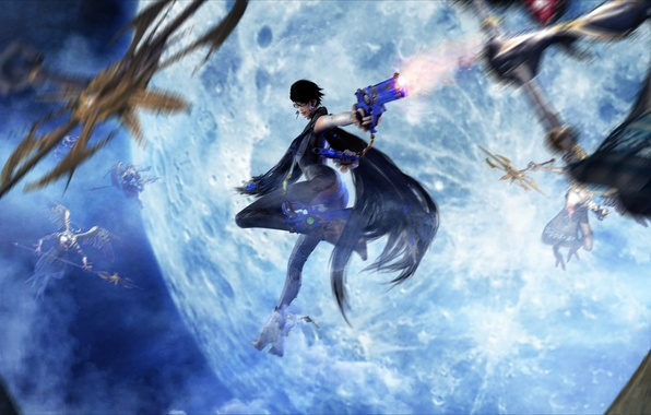 Picture the moon, witch, the full moon, bayonetta, sega, Platinum Games, Umbra Witches