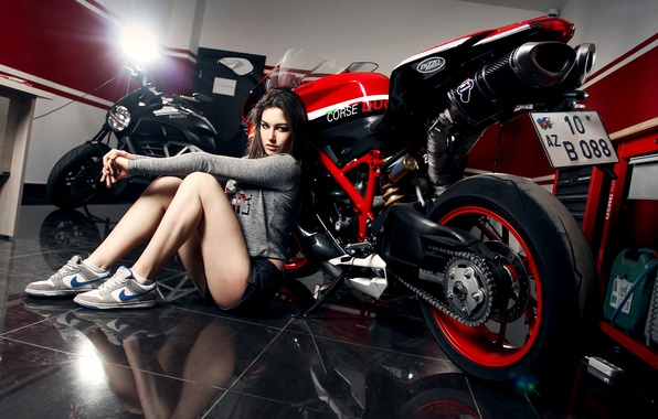 Picture Girl, Red, Ducati, Legs, Nike, Shoes, Motocycle, Nice, Ligth, Katharina