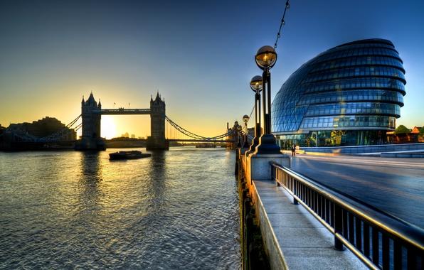 Picture sunrise, England, London, morning, morning, Sunrise, Tower Bridge, London, England, Thames, River, city hall