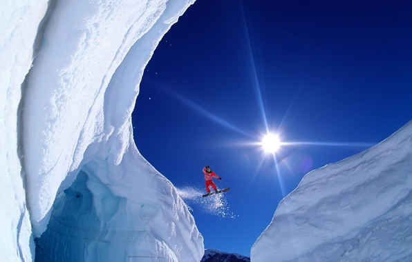 Picture the sun, snow, flight, mountains, extreme, snowboarder