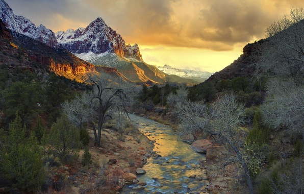 Picture the sky, trees, sunset, mountains, river