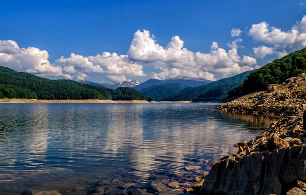 Picture clouds, mountains, lake, shore, Romania, Romania, Lake Vidraru, Lake Vidraru