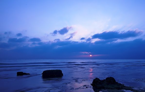 Picture sea, the sky, clouds, sunset, stones, shore, the evening, tide