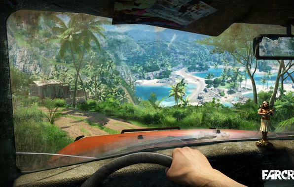 Picture sand, sea, car, machine, grass, trees, blue, green, palm trees, island, doll, houses, game, ubisoft, …