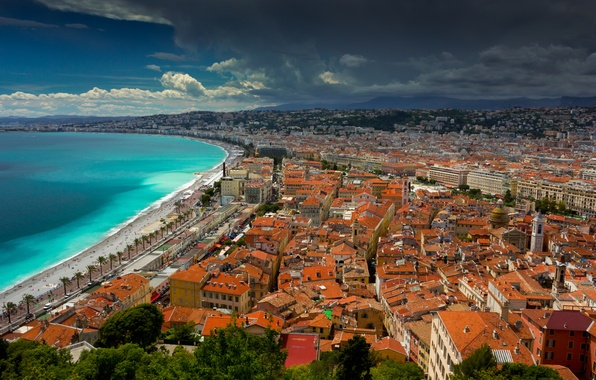 Picture roof, sea, the sky, mountains, clouds, the city, shore, France, home, Nice